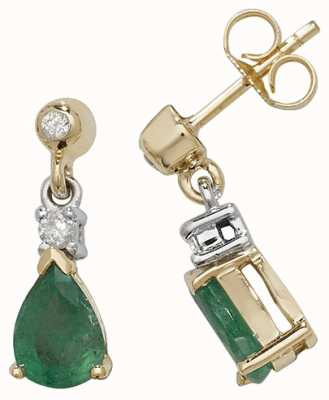 Treasure House 9k Yellow Gold Emerald Diamond Drop Earrings ED245E