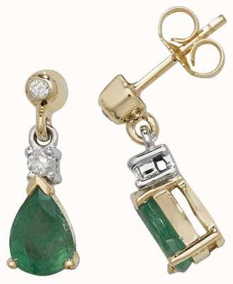 James Moore TH 9k Yellow Gold Emerald Diamond Drop Earrings ED245E