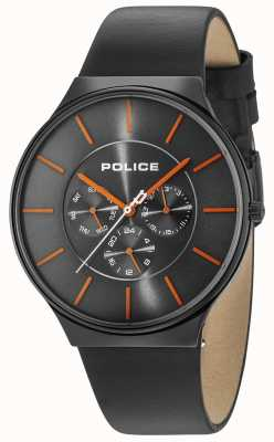 5fddc25f7044 Police Seattle Black Case Grey Dial Black Leather Strap 15044JSB 13A