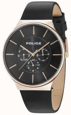 Police Seattle Rose Gold Case Black Dial Black Leather Strap 15044JSR/02