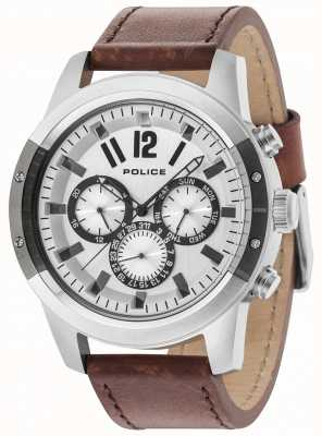 Police Scrambler Brown Leather Strap Silver Dial 14528JSTU/04
