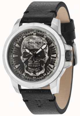 Police Reaper Black Leather Strap Silver Skull Dial 14385JS/57