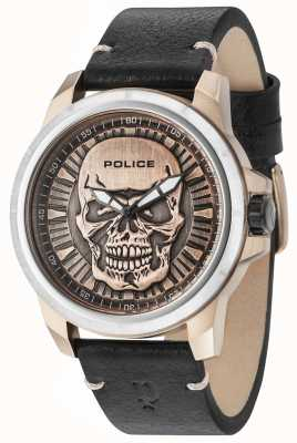 Police Reaper Black Leather Strap Bronze Skull Dial 14385JSTR/62