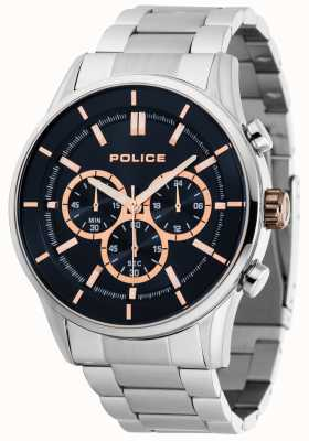 Police Rush Stainless Steel Bracelet With Dark Blue Dial 15001JS/03M