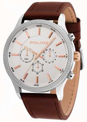 Police Pace Brown Leather Strap With Silver Dial 15002JS/04