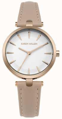Karen Millen Matte White Dial Rose Gold Case KM153CRG