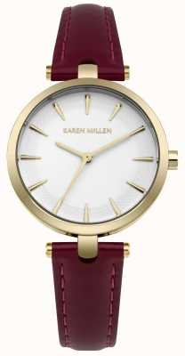 Karen Millen Matte White Dial Mulberry Leather Strao KM153VG