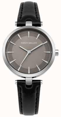 Karen Millen Matte Mink Dial Silver Case Black Leather Strap KM153B