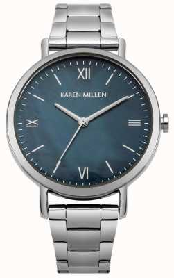 Karen Millen Blue Mother Of Pearl Dial Stainless Steel Capped Bracelet KM159USM