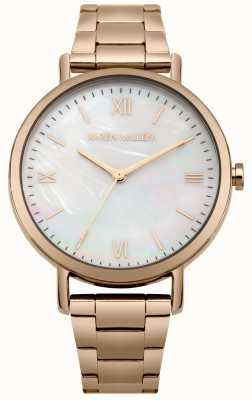Karen Millen White Mother Of Pearl Dial Rose Gold Stainless Steel Bracele KM159RGM