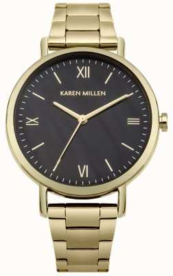 Karen Millen Black Mother Of Pearl Dial Gold Stainless Steel Bracelet KM159BGM