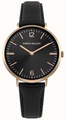 Karen Millen Black Sunray Dial With Black Leather Bracelet KM163BRG