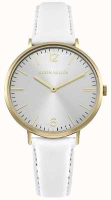 Karen Millen White Sunray Dial With White Leather Strap KM163WG