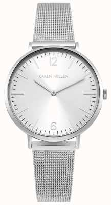 Karen Millen White Sunray Dial With Silver Stainless Steel Strap KM163SM