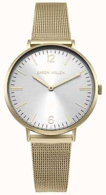 Karen Millen White Sunray Dial With Gold Stainless Steel Bracelet KM163GM