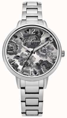 Cath Kidston Silver Bracelet Black & White Floral Dial CKL038SM