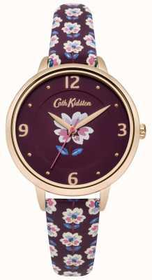 Cath Kidston Plum Floral Strap Watch Plum Dial CKL042RRG