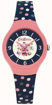 Cath Kidston Floral Dial Blue Strap Scattered Multicolour Polka Dot Strap CKL027UP