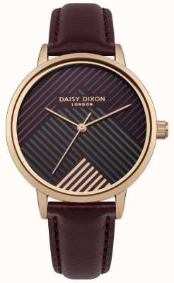 Daisy Dixon Dark Red Strap With Dark Red Striped Dial DD056VRG