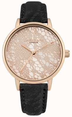 Daisy Dixon Black Lace Print Strap Rose Gold Print Dial DD051BRG