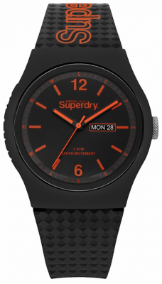 Superdry Black Dial Black Silicone Strap SYG179OB
