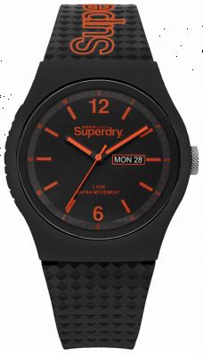 Superdry Black Dial Black Silicone Strap SYG179OB