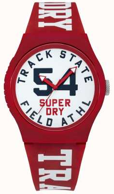 Superdry Track State Print Dial White Face Red Strap SYG182WR