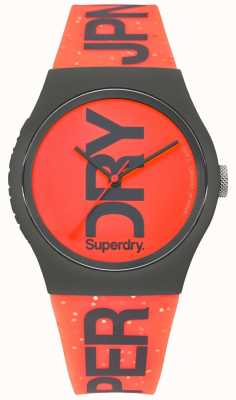 Superdry Urban Red Dial Black Case Rubber Strap SYL189CE