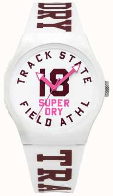 Superdry Track State Print Dial White Face White Strap SYL182VW