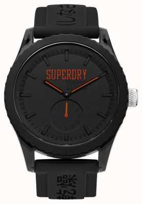 Superdry tokyo Black Dial Orange Hands Black Silicone Strap SYG145BB
