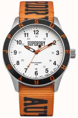 Superdry Yokohama White Dial Stainless Steel Case Nylon Orange Strap SYG186O
