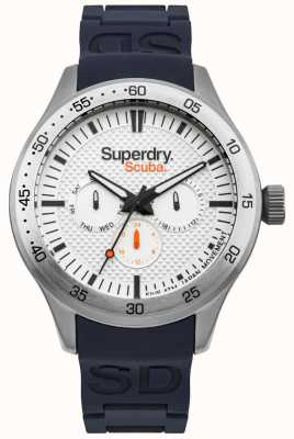 Superdry Scuba White Patterned Dial Blue Embossed Silicone Strap SYG210U