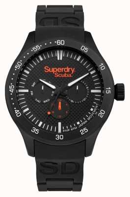 Superdry Black Patterned Dial Black Stainless Steel Case Black Rubber SYG210BB