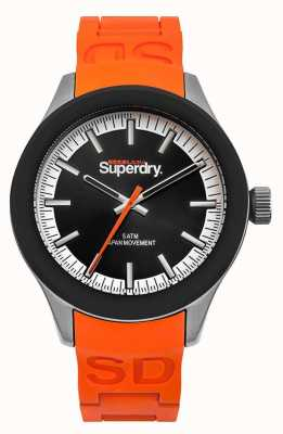 Superdry Scuba Black Dial Orange Silicone Strap SYG211O