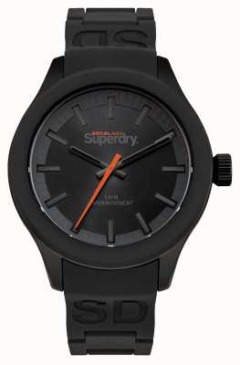 Superdry Black Dial Black Case And Black Silicone Strap Orange Second SYG211EE