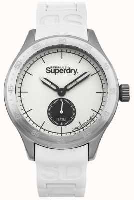 Superdry White Dial Silver Stainless Steel Case White Silicone Strap SYG212W