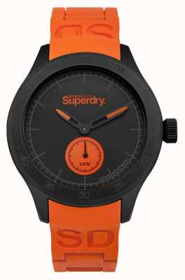 Superdry Scuba Black Dial Orange Silicone Strap SYG212OB