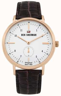 Ben Sherman The Dylan Professional White Dial Rose Gold Case Leather WBS102TRG