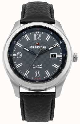 Ben Sherman The Sugarman Social Grey Patterned Dial Black Leather Strap WBS106B