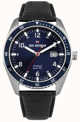 Ben Sherman The Ronnie Sports Blue Dial Silver Case Black Leather WBS107UB