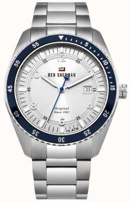 Ben Sherman The Ronnie Sports White Dial Blue Bezel Stainless Steel WBS107SM