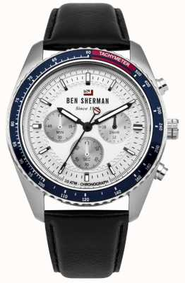 Ben Sherman The Ronnie Chronograph White Sunray Dial Black Leather WBS108UB