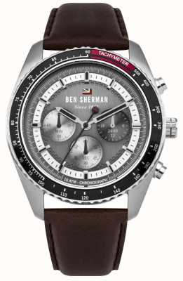 Ben Sherman The Ronnie Chronograph Grey Sunray Dial Brown Leather Strap WBS108BT