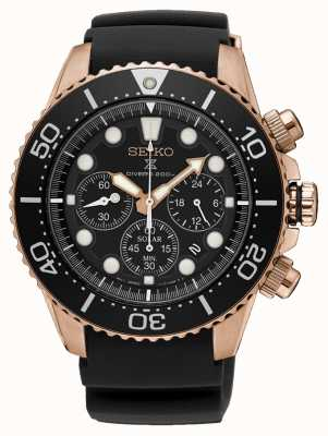 Seiko Prospex Solar Chronograph Rose Gold Case Black Rubber Strap SSC618P1