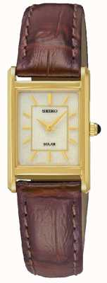 Seiko Womens Gold Case Brown Leather Strap SUP252P1