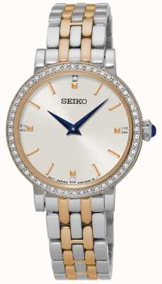 Seiko Womens Two Tone Bracelet Crystal Set Case SFQ810P1