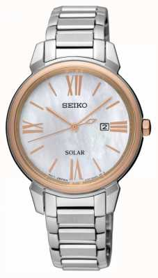 Seiko Womens Mother Of Pearl Dial Rose Gold Case Stainless Steel SUT326P1
