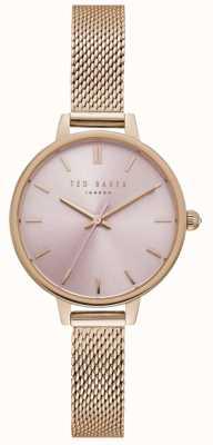 Ted Baker Womens Ted Baker Pink Dial Rose Gold Mesh Bracelet TE50070004