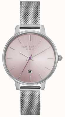 Ted Baker Womens Kate Pink Dial Silver Stainless Steel Mesh Bracelet TE15162010