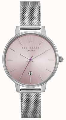 Ted Baker Womens Kate Pink Dial Silver Stainless Steel Mesh Bracelet TE15162010